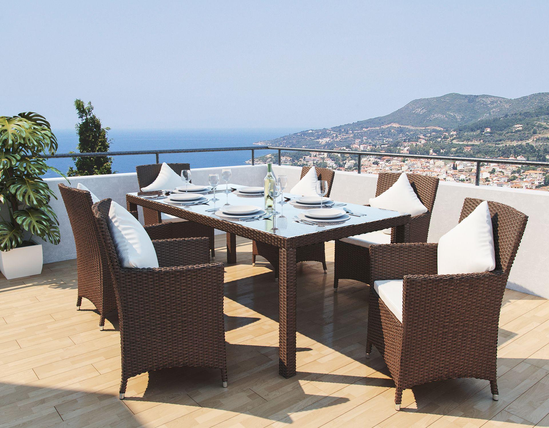 artelia austria jetzt g nstig ein polyrattan esstisch set 7tlg kaufen. Black Bedroom Furniture Sets. Home Design Ideas