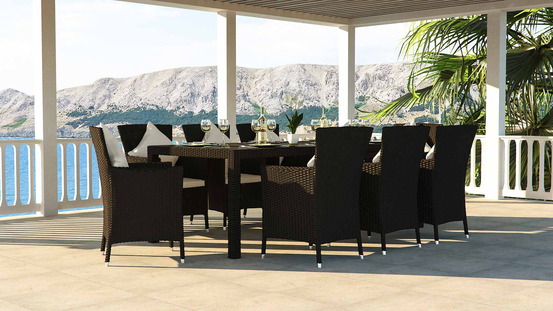 artelia austria terrassen esstisch set f r 8 personen aus polyrattan. Black Bedroom Furniture Sets. Home Design Ideas