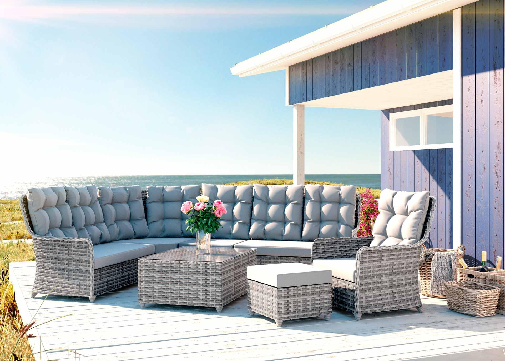 Artelia austria gartenm bel set im lounge design g nstig for Couchlandschaft grau
