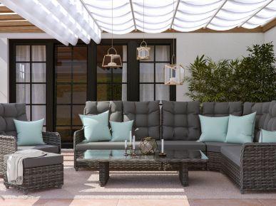 Artelia austria gartenm bel esstisch set im lounge for Couchlandschaft grau