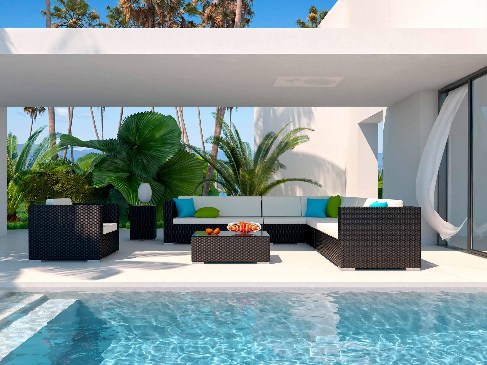 artelia austria rattan loungem bel set in braun schwarz grau und weiss aus polyrattan. Black Bedroom Furniture Sets. Home Design Ideas