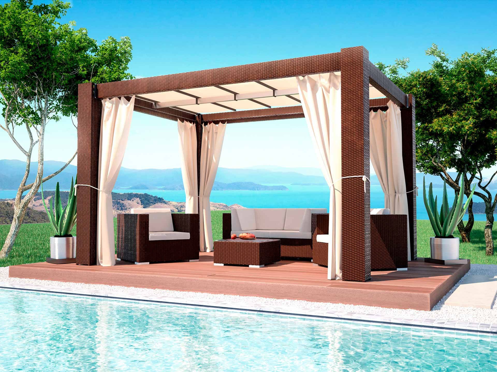 artelia austria polyrattan pavillon paloma in 4m l nge. Black Bedroom Furniture Sets. Home Design Ideas