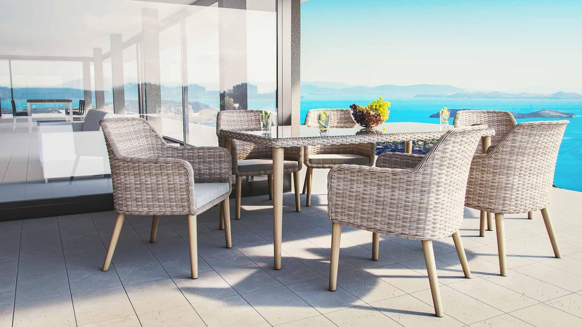 artelia austria rattan essgruppe desert line savannah f r 6 personen mit tisch und st hlen. Black Bedroom Furniture Sets. Home Design Ideas