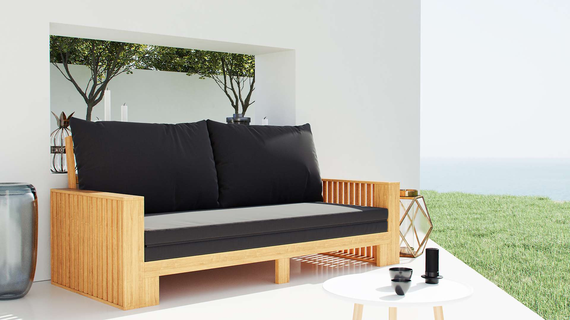 Daybed holz amazing tagesbett with daybed holz stunning gartenbank daybed akazienholz daybed - Daybed garten ...